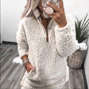 Sweaters - Sherpa pullover ehalf zip fuzzy fleece sweater